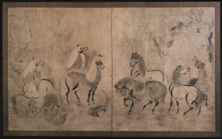 Japanese Two Panel Screen: Horses in a Gentle Pine Landscape