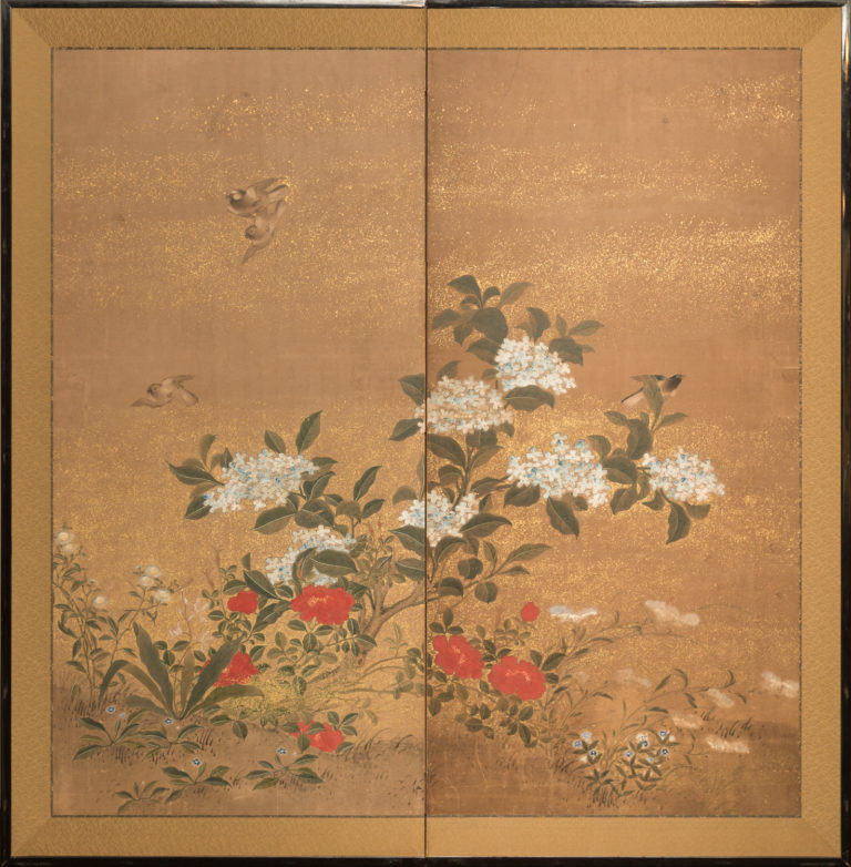 Japanese Two Panel Screen: Hydranga and Camilia Flowers with Sparrows in Flight