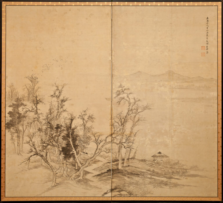 Japanese Two Panel Screen: Ink Landscape on Silk