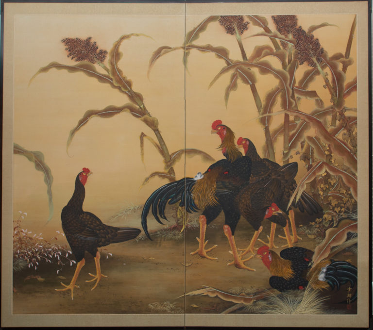 Japanese Two Panel Screen: Japanese Chickens (Shamo Breed)