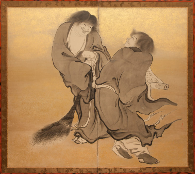 Japanese Two Panel Screen: Kanzan and Jittoku
