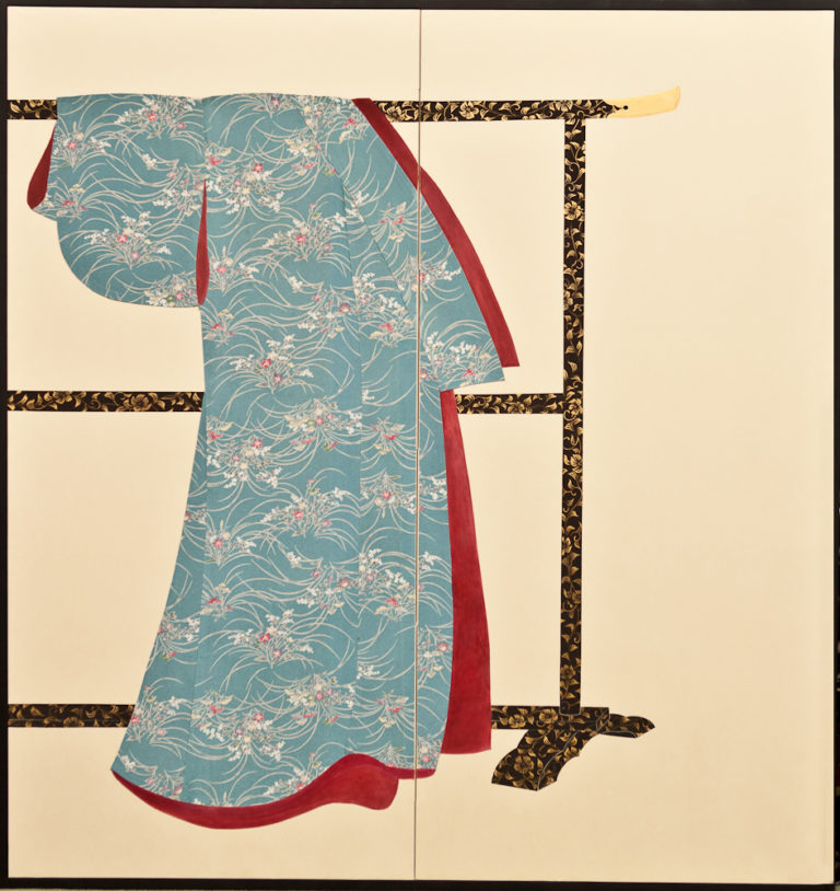 Japanese Two Panel Screen: Kimono