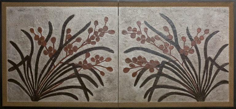 Japanese Two Panel Screen: Lacquer Painting on Canvas of Mirrored Flower Design