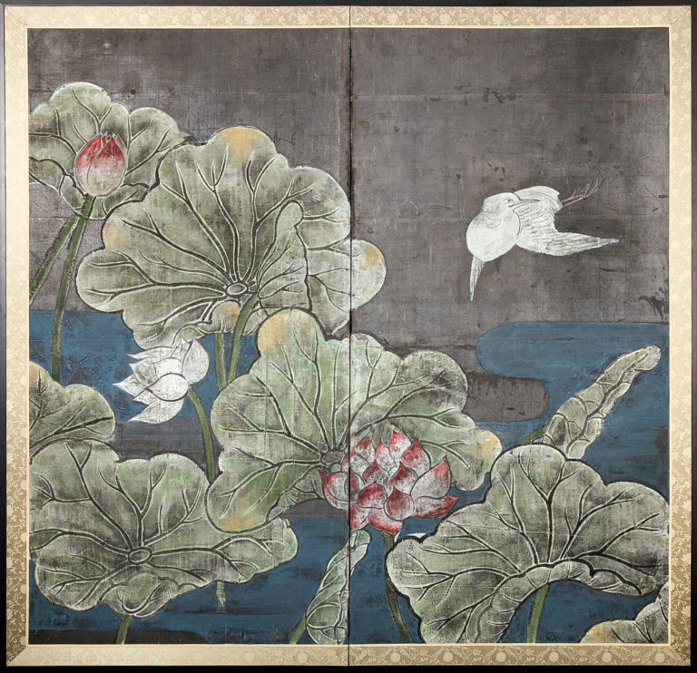 Japanese Two Panel Screen: Lotus and Heron