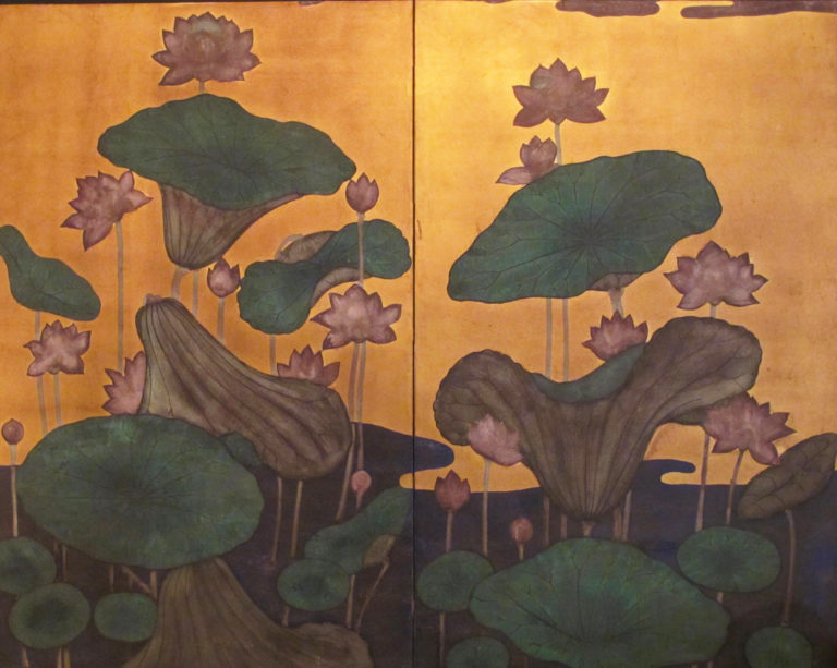 Japanese Two Panel Screen: Lotus Flowers and Leaves on Gold