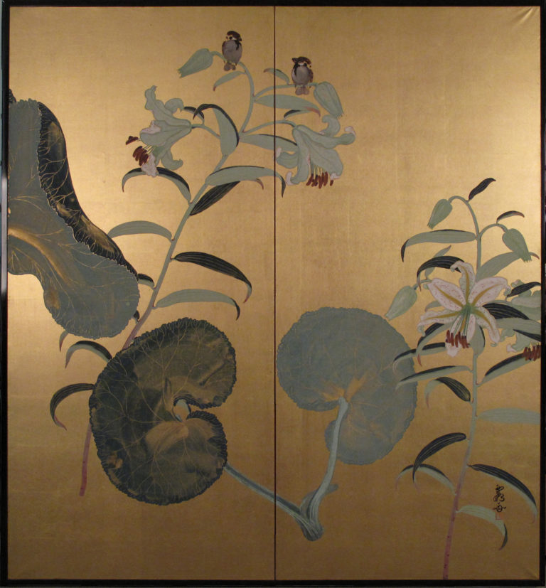 Japanese Two Panel Screen: Lotus Leaves and Tiger Lily on Gold Paper