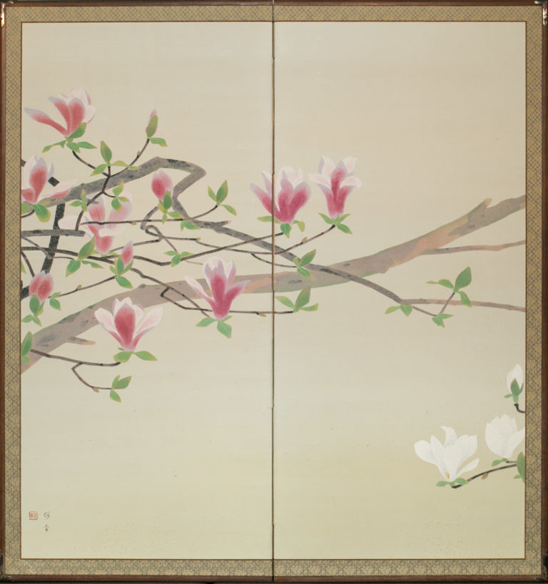 Japanese Two Panel Screen: Magnolia Design
