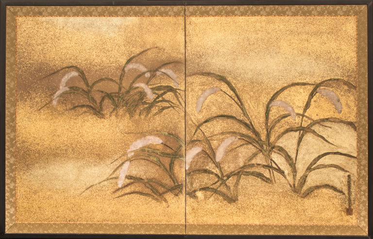 Japanese Two Panel Screen: Millet Design with Gold Dust