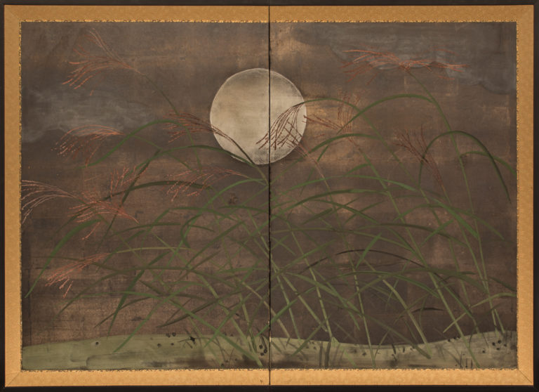 Japanese Two Panel Screen: Moon and Wild Grasses on Oxidized Silver with Clouds