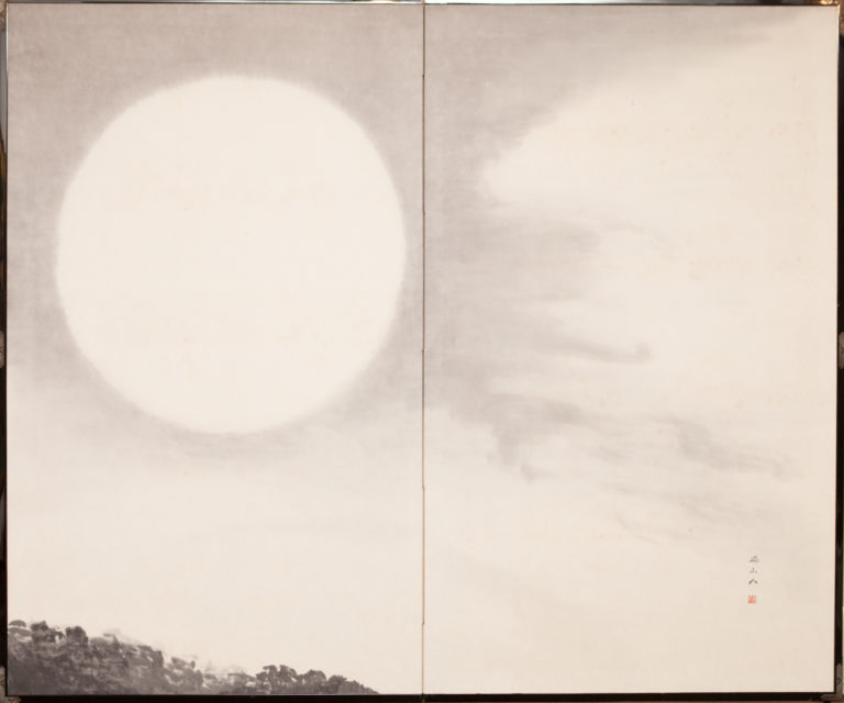 Japanese Two Panel Screen: Moonlit Sky