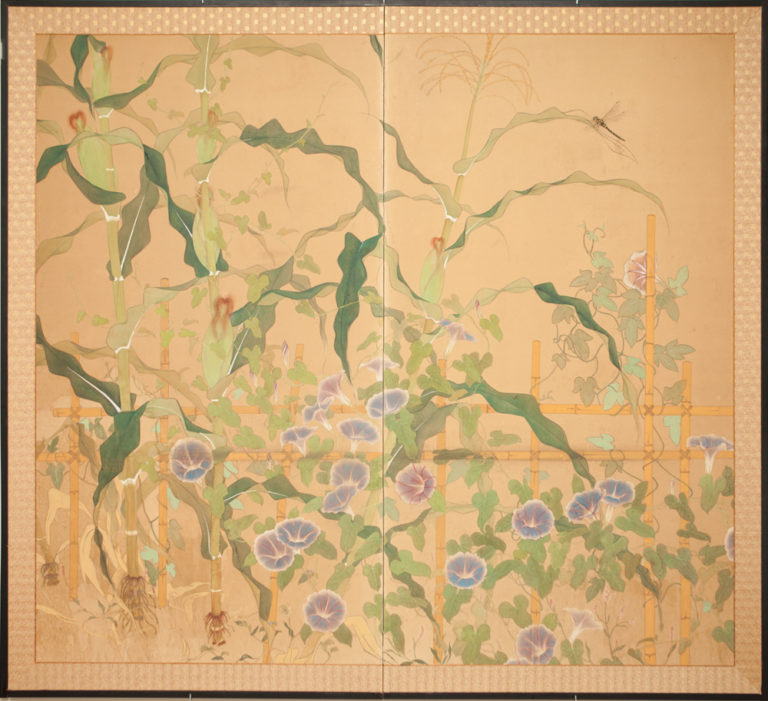 Japanese Two Panel Screen: Morning Glories with Maize and Bamboo Trellis