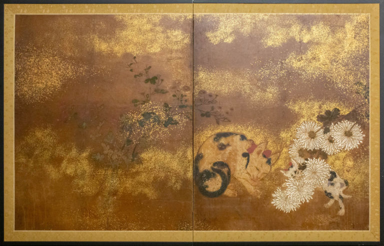 Japanese Two Panel Screen: Mother and Kitten with Chrysanthemums