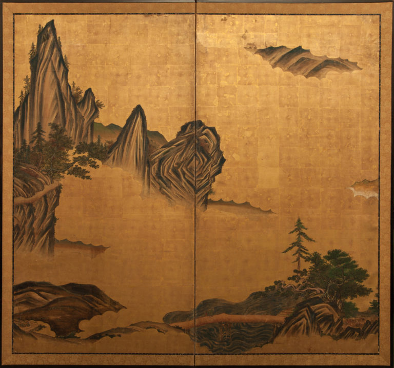 Japanese Two Panel Screen: Mountain Landscape With Cedar and Pine on Gold Leaf