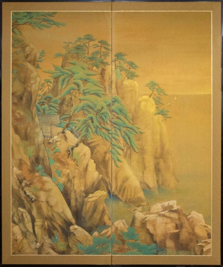 Japanese Two Panel Screen: Mountain Shrine on Craggy Ledge