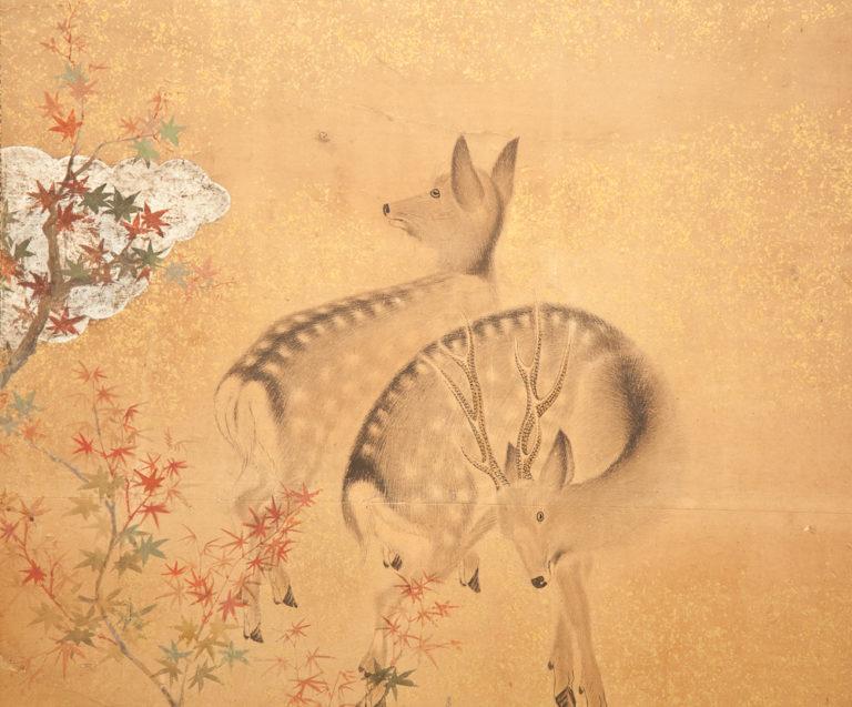 Japanese Two Panel Screen: Nara Deer in Gentle Yoshino Landscape