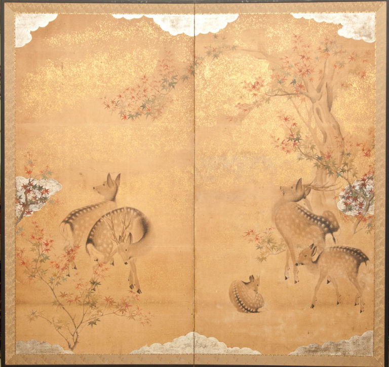 Japanese Two Panel Screen: Nara Deer in Gentle Yoshino Landscape