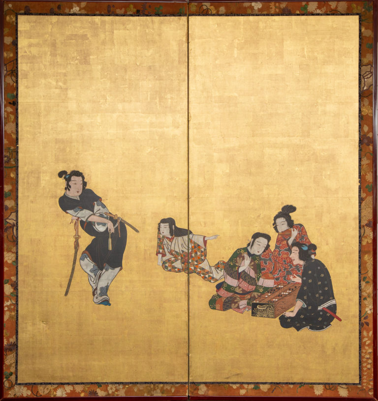 Japanese Two Panel Screen: Nobles at Leisure
