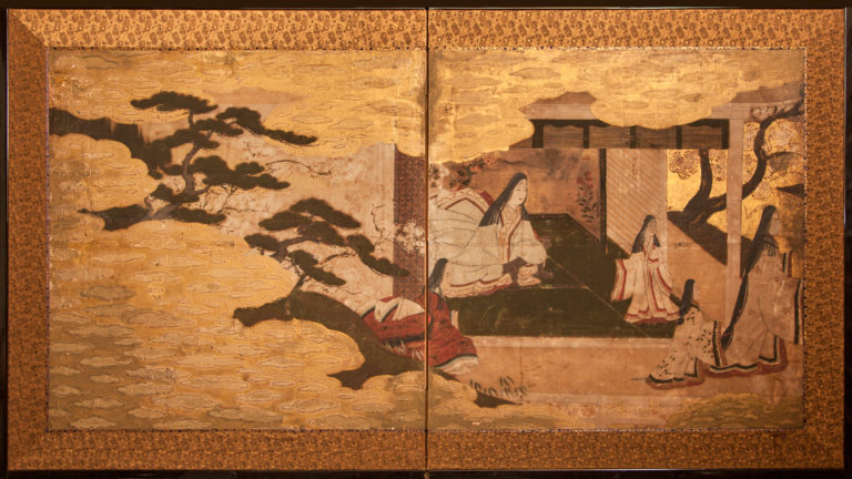 Japanese Two Panel Screen: Palace Scene of Lady Murasaki