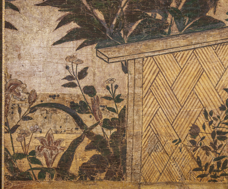Japanese Two Panel Screen: Peony Over a Woven Fence on Gold