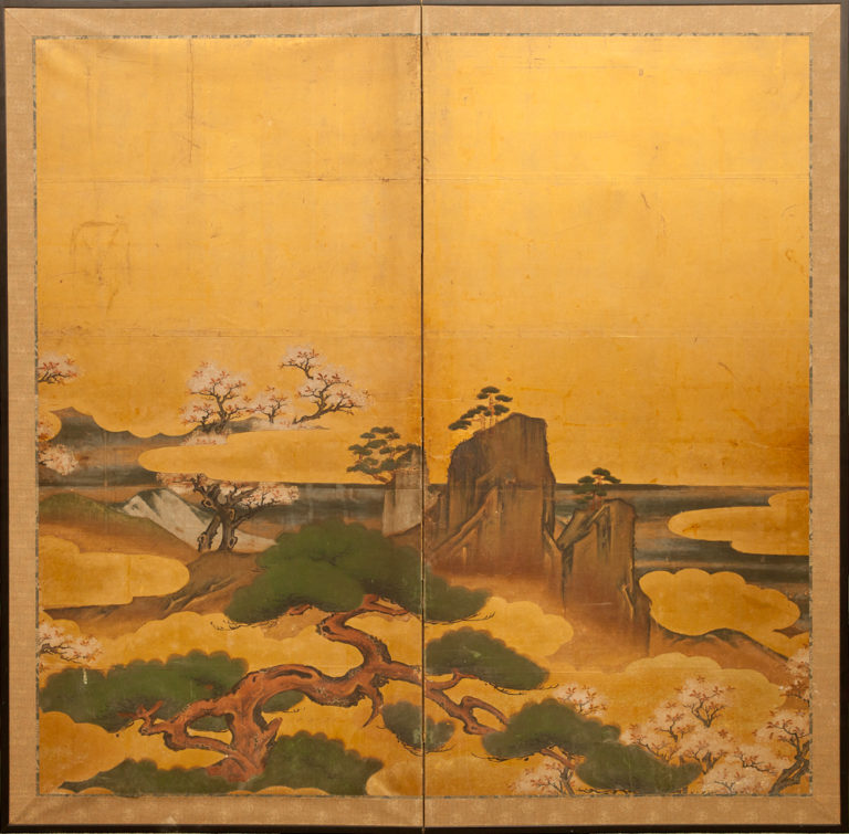 Japanese Two Panel Screen: Pine and Cherry Landscape