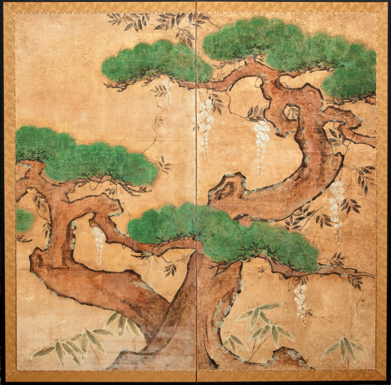 Japanese Two Panel Screen: Pine and Climbing Wisteria