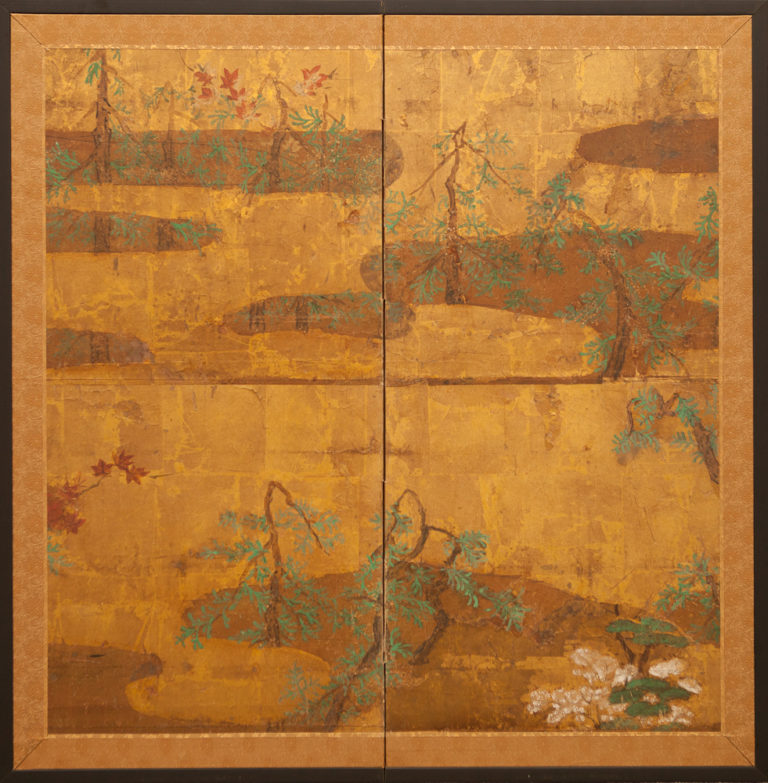 Japanese Two Panel Screen: Pine Forest in the Mist