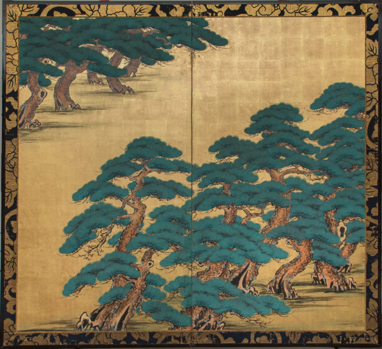 Japanese Two Panel Screen: Pine on Heavy Gold