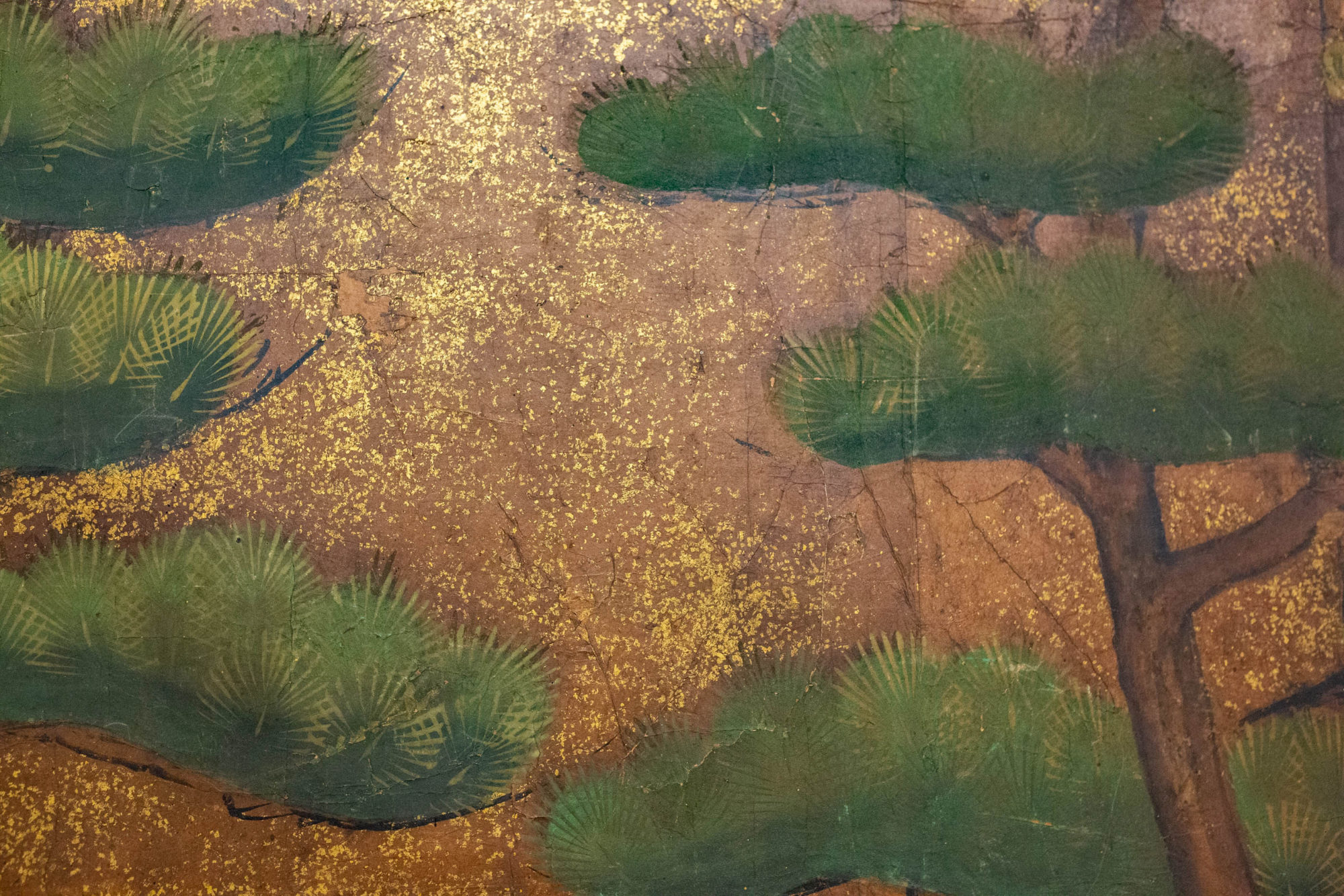 Japanese Two Panel Screen: Pine With Gold Dust