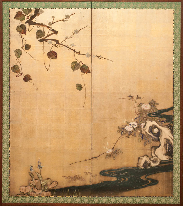 Japanese Two Panel Screen: Plum Branch and Flowers by a Stream