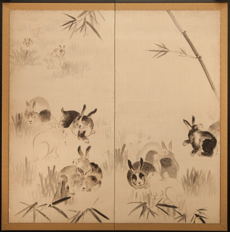 Japanese Two Panel Screen: Rabbits in Bamboo Grove