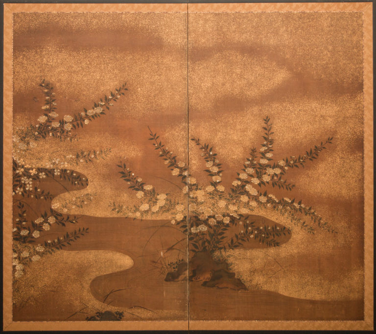 Japanese Two Panel Screen: Raised Flowers with Gold Dust by River's Edge