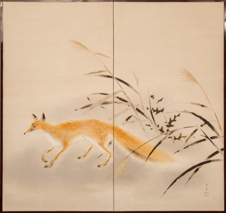 Japanese Two Panel Screen: Red Fox and Thistle with Wild Grass