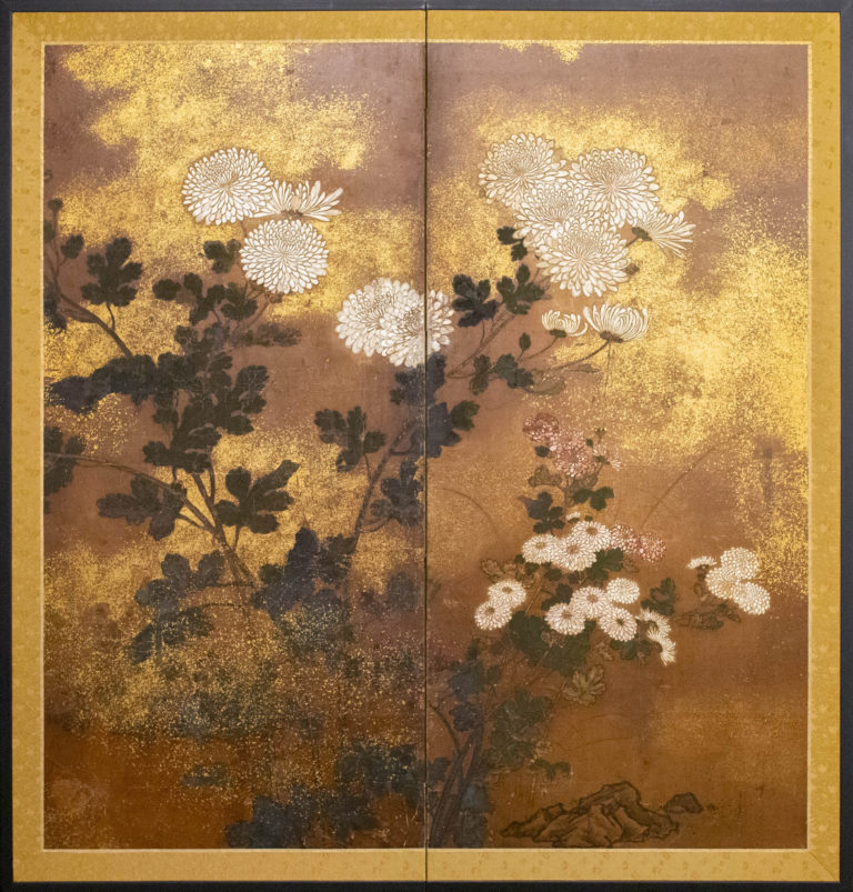 Japanese Two Panel Screen: Rimpa Painting of Chrysanthemums
