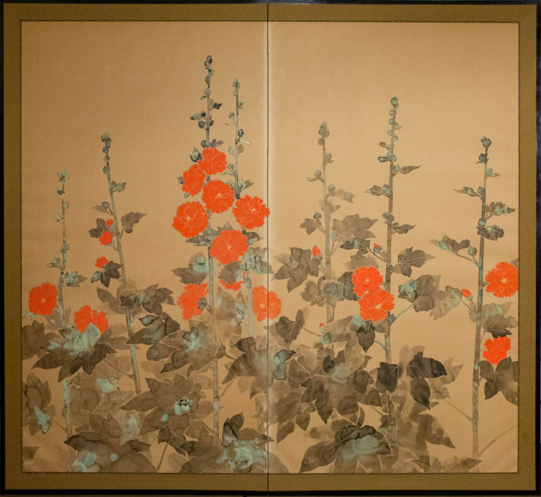 Japanese Two Panel Screen: Rimpa Style Painting of Hollyhocks