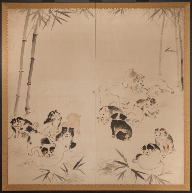 Japanese Two Panel Screen: Romping Puppies in Bamboo Grove