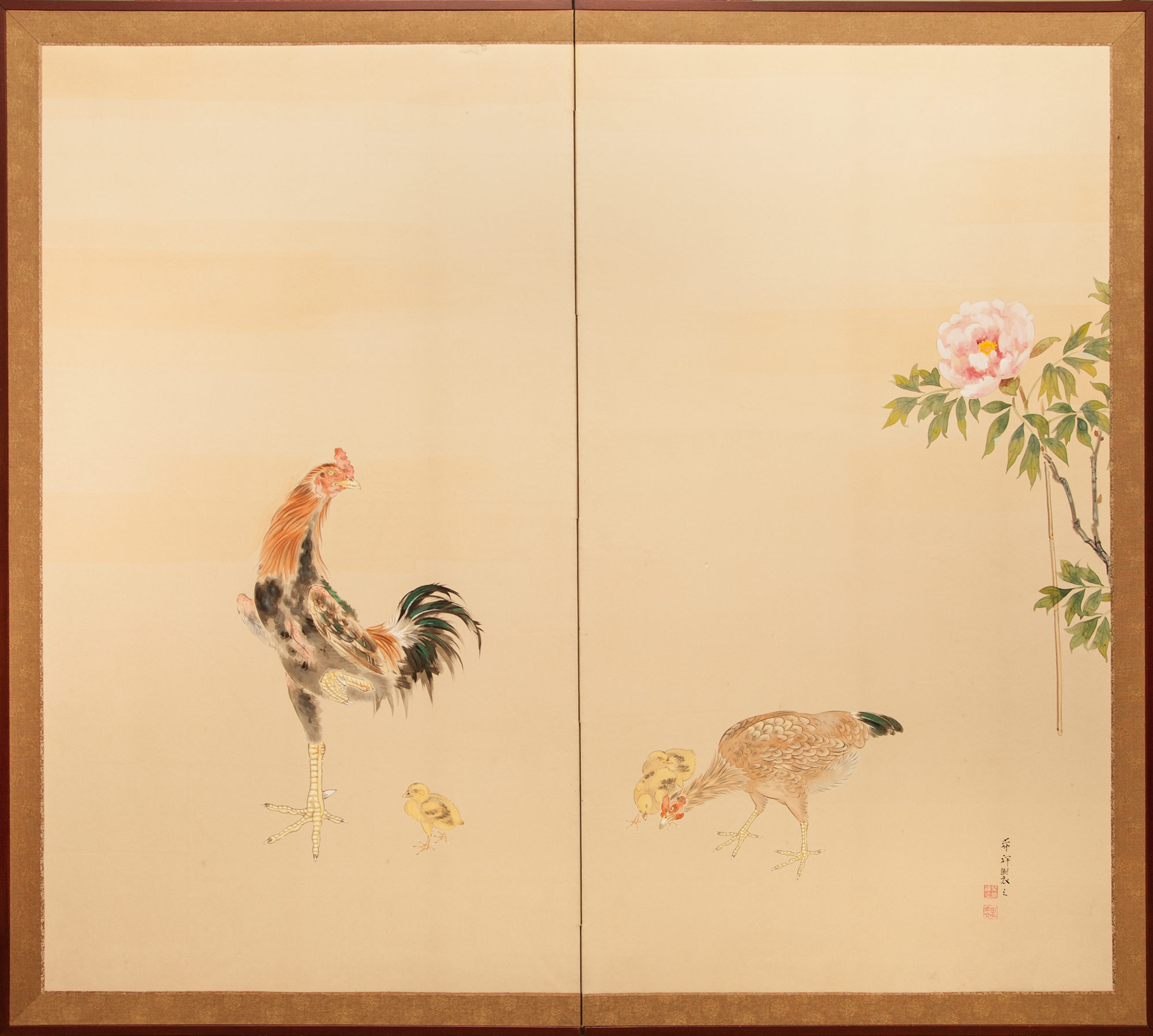 Japanese Two Panel Screen: Rooster, Hen, and Chicks