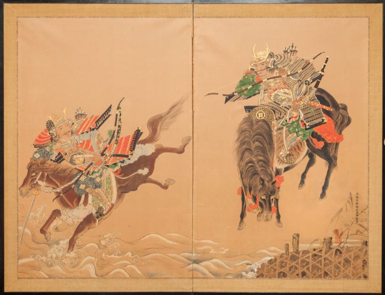 Japanese Two Panel Screen: The Race at Uji Bridge