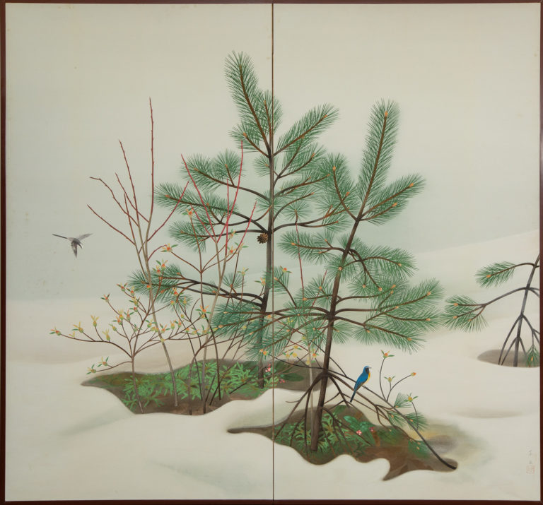 Japanese Two Panel Screen: Young Pine in Snow