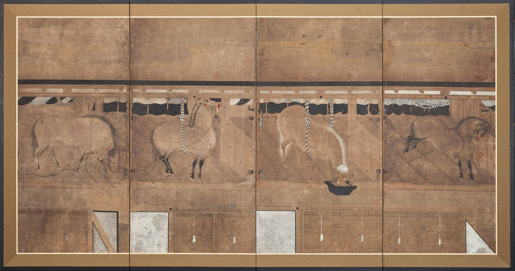 Japanese Four Panel Screen: Horses in Stable Scene