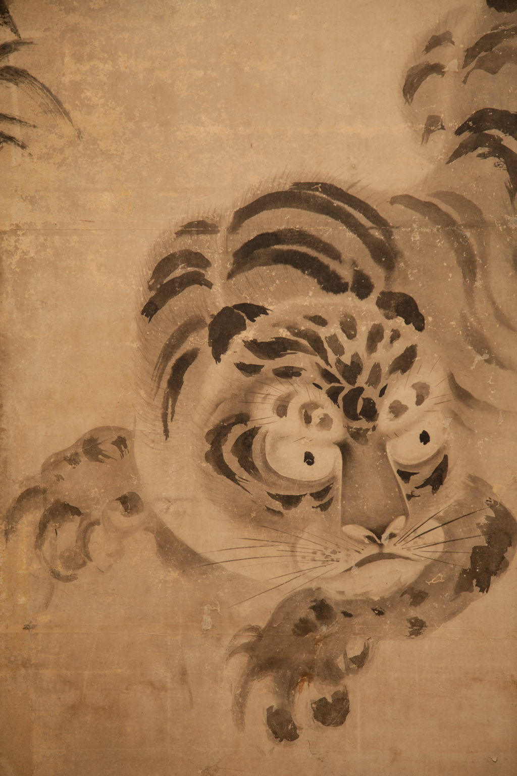 Japanese Four Panel Screen: Leaping Tiger and Bamboo