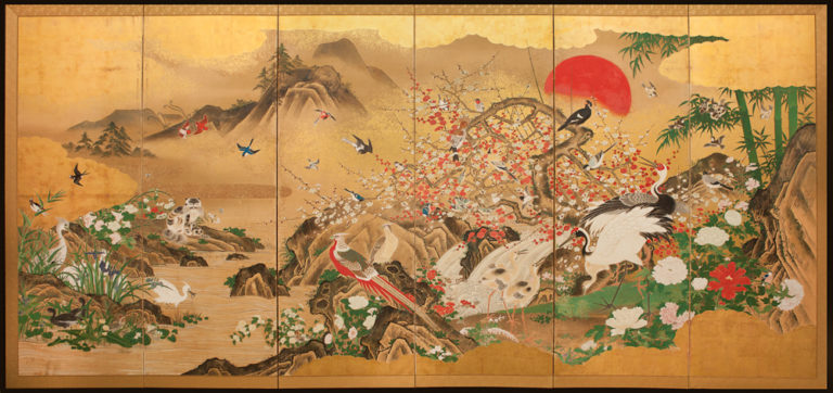 Japanese Six Panel Screen: Animals and Flowers in a Landscape with Rising Sun