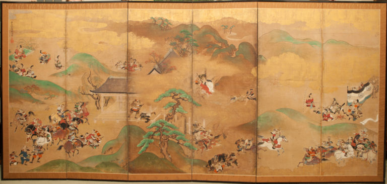Japanese Six Panel Screen: Battle Scene in Hilly Landscape from the Tales of Heike