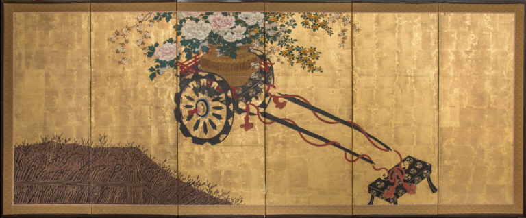 Japanese Six Panel Screen: Black and Gold Lacquer Flower Festival Cart