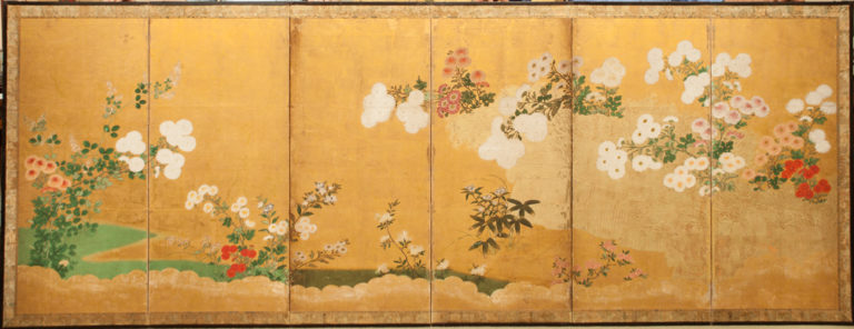 Japanese Six Panel Screen: Chrysanthemums Cascading Over A Garden Fence
