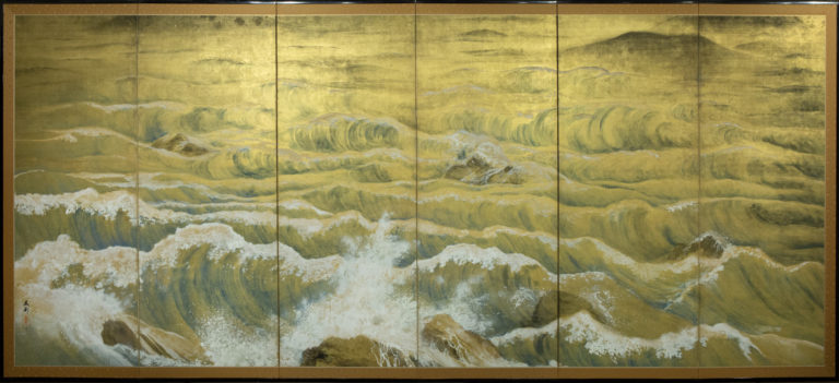 Japanese Six Panel Screen: Craggy Coastal Landscape