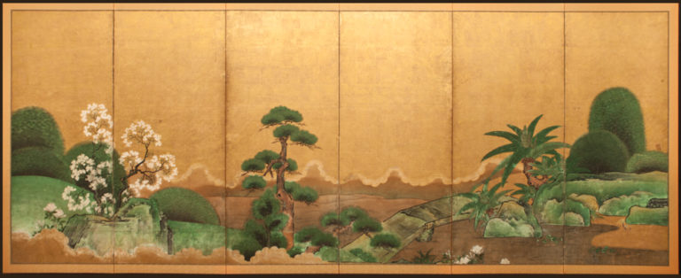 Japanese Six Panel Screen: Japanese Manicured Garden Landscape
