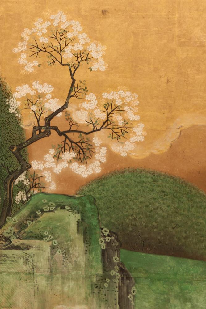 Japanese Six Panel Screen: Japanese Manicured Garden Landscape
