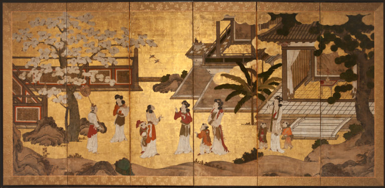 Japanese Six Panel Screen: Ladies in a Garden  with Flowering Cherry