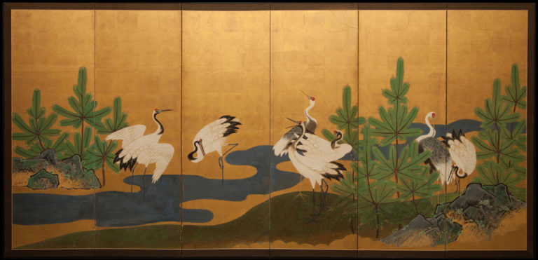 Japanese Six Panel Screen: Manchurian Cranes and Pines on Gold