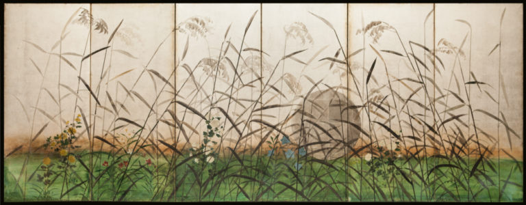 Japanese Six Panel Screen: Moon and Wild Grasses on Silver